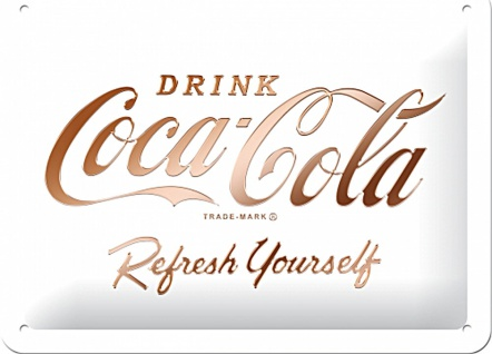 Coca-Cola - Logo White Refresh Yourself Blechschild