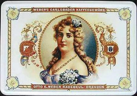 Blechpostkarte Weber's Carlsbader Kaffeegewürz