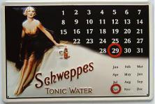 Schweppes Tonic Water Kalender Blechschild