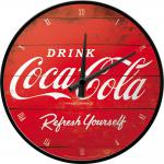 Coca-Cola - Logo Red Refresh Yourself Wanduhr (Echtglas)