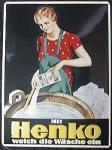 Henko weich die Wäsche ein Blechschild