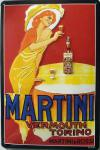Martini Vermouth Dame in rot Blechschild