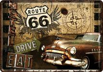 Blechpostkarte Route 66 Road Trip