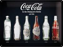 Coca-Cola - Bottle Timeline, schwarz Blechschild, 40 x 30 cm
