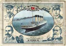 Blechpostkarte Titanic Mannschaft