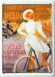 Blechpostkarte Usines Delin Fahrrad