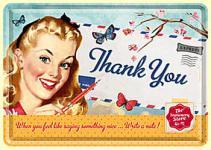 Blechpostkarte Thank You Girl