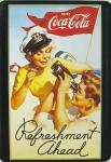 Blechpostkarte Coca Cola Refreshment Ahead