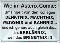 Blechpostkarte Wie im Asterix.Comic