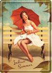 Blechpostkarte Pin Up - Indian Summer