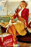 Coca Cola Girl mit Hund Blechschild