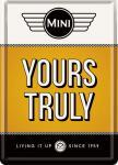Blechpostkarte Mini Cooper - Yours Truly Orange