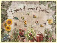 Magnet-Tafel English Flower Garden Blechschild