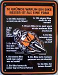 Funschild 10 Gründe warum ein Bike