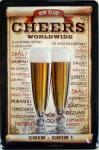 Cheers Worldwide Blechschild, 20 x 30 cm