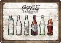 Blechpostkarte Coca-Cola - Bottle Timeline