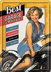 Blechpostkarte Best Garage, yellow