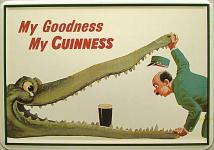 Blechpostkarte Guinness Krokodil