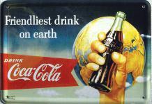 Blechpostkarte Coca Cola Friendliest Drink