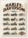 Harley-Davidson - Modell Chart Blechschild, 30 x 40 cm