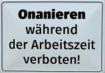 Blechpostkarte Onanieren während der Arbeitszeit verboten!