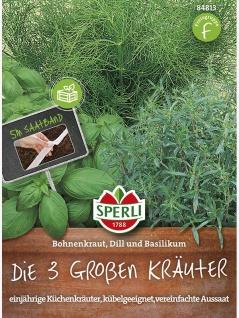Die 3 Großen Kräuter: Bohnenkraut Dill Basilikum, Saatband 5m , Grundpreis: 0.60 € pro 1 m
