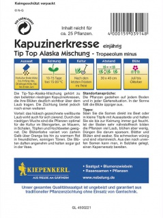 Tropaeolum minus Kapuzinerkresse Tip-Top Alaska-Mischung - Vorschau 2