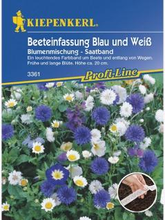 Blumenmischung Beeteinfassung Blau und Weiss einjährig Saatband 5mtr , Grundpreis: 0.52 € pro 1 m