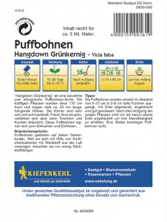 Puffbohnen Grosse Bohnen Hangdown grünkernig Portion - Vorschau 2