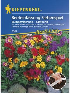 Blumenmischung Beeteinfassung Farbenspiel einjährig Saatband 5mtr , Grundpreis: 0.56 € pro 1 m
