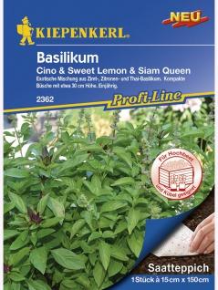 Saatteppich Basilikum Cino (Zimt), Sweet Lemon (Zitrone), Siam Queen (Thai) (15cm x 150cm)