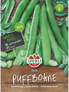 Puffbohne Perla, feinkörnige Dicke Bohne, Delikatess- Sorte