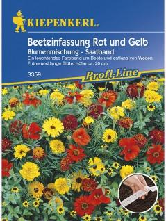 Blumenmischung Beeteinfassung Rot und Gelb einjährig Saatband 5 mtr , Grundpreis: 0.52 € pro 1 m