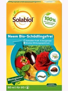 Solabiol Neem Bio-Schädlingsfrei, biologische Schädlingsbekämpfung an Zierpflanzen, Kräutern, Kartoffeln und Gemüse, (auch zur Blattlausbekämpfung geeignet), 60 ml , Grundpreis: 24.98 € pro 100 ml