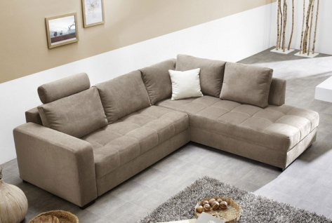 Polsterecke Aurum 267x221 Mikrofaser hellbraun Bettfunktion Sofa Couch