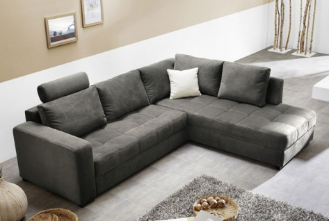Polsterecke Aurum 267x221cm Mikrofaser grau Bettfunktion Sofa Couch