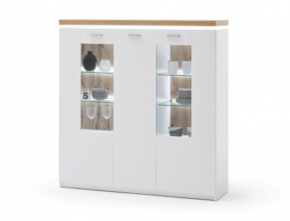 Highboard Claire 11 weiss Wotan Eiche Nb. 138x143x38 cm Kommode LED