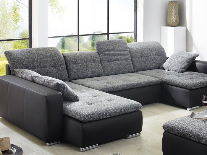 sofa couch ferun 365x200 185cm mit hocker anthrazit. Black Bedroom Furniture Sets. Home Design Ideas