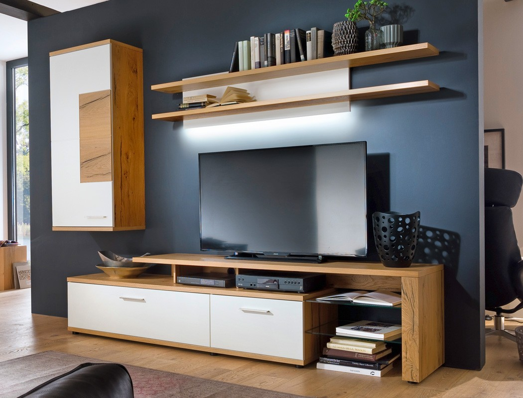 wohnwand nina 22 wei crack eiche 3 teilig medienwand tv wand tv m bel kaufen bei vbbv gmbh. Black Bedroom Furniture Sets. Home Design Ideas