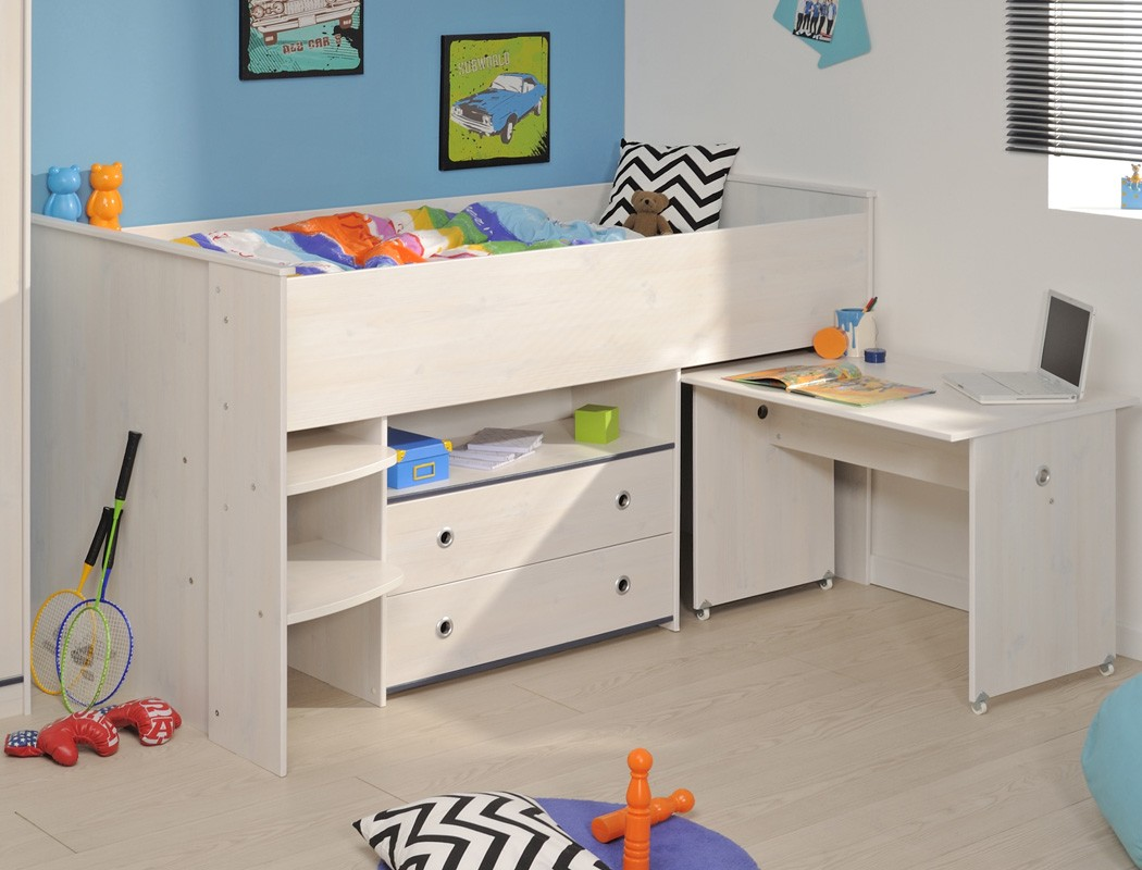 kinderzimmer snoopy 25a kiefer wei hochbett mit. Black Bedroom Furniture Sets. Home Design Ideas