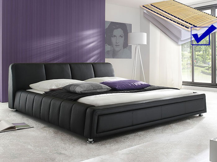 polsterbett komplett aron bett 180x200 schwarz lattenrost matratze kaufen bei vbbv gmbh. Black Bedroom Furniture Sets. Home Design Ideas