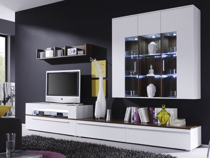 wohnwand criss weiss walnuss 312x190x47 schrankwand. Black Bedroom Furniture Sets. Home Design Ideas