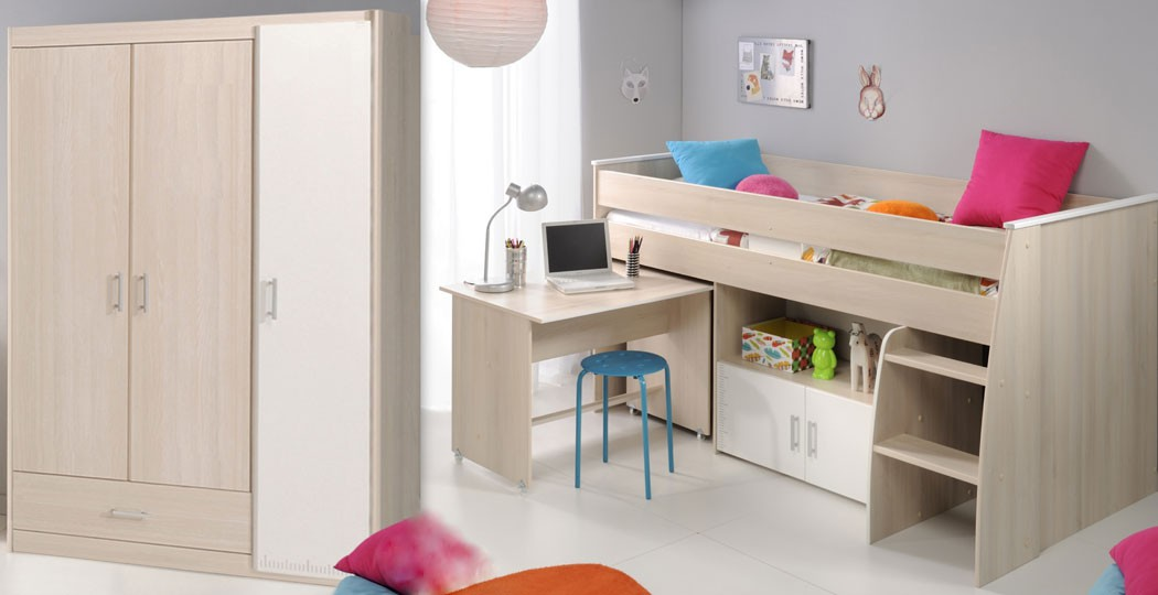 kinderzimmer chiron 6 akazie hochbett schreibtisch kleiderschrank bett kaufen bei vbbv gmbh. Black Bedroom Furniture Sets. Home Design Ideas