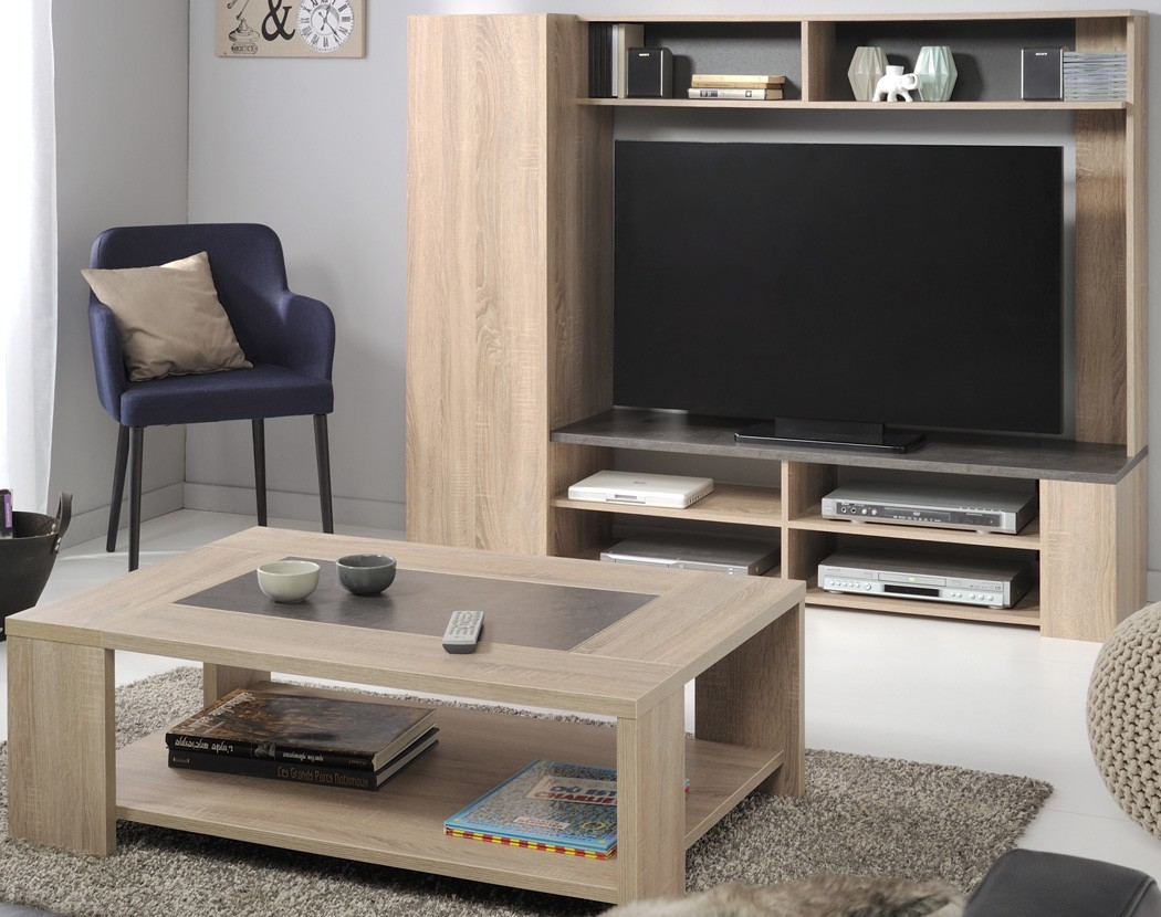 wohnzimmer fumio 4 eiche natur nachbildung steinoptik tv wand tisch kaufen bei vbbv gmbh co kg. Black Bedroom Furniture Sets. Home Design Ideas
