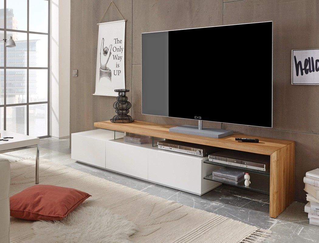 lowboard alessa i 204x40x44 cm wei eiche tv board tv m bel schrank kaufen bei vbbv gmbh co kg. Black Bedroom Furniture Sets. Home Design Ideas