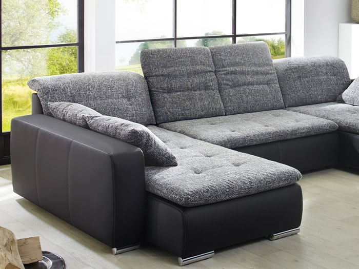 sofa couch ferun 365x200 185cm webstoff anthrazit kunstleder schwarz kaufen bei vbbv gmbh. Black Bedroom Furniture Sets. Home Design Ideas