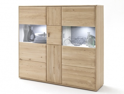 Highboard Torrent 5 Eiche bianco massiv 154x140x39 cm Vitrine Schrank