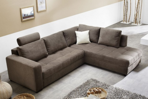 Polsterecke Aurum 267x221cm Mikrofaser braun Bettfunktion Sofa Couch