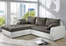 Polsterecke Ronia 258x202cm dunkelgrau weiss Bettfunktion Sofa Couch