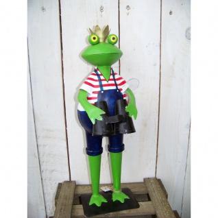 Gartenfigur Froschkönig mit Fernglas